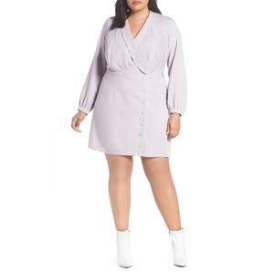 Wayf Rozy Glen Plaid Mini Dress Lilac Purple XL